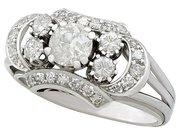 2.20ct Diamond and 18ct White Gold Dress Ring - Vintage Circa 1950