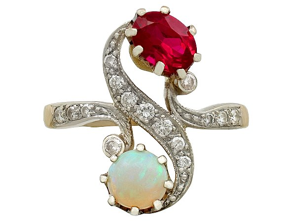 0.75ct Opal and Synthetic Ruby, 0.43ct Diamond and 18ct Yellow Gold Twist Ring - Antique French Circa 1930