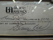 Bruce Lee autograph signed cheque from March 1972