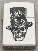 2015 BRUSHED CHROME ZIPPO STURGIS MOTORCYCLE RALLY 75TH ANNIVERSARY STOVE PIPE SKULL