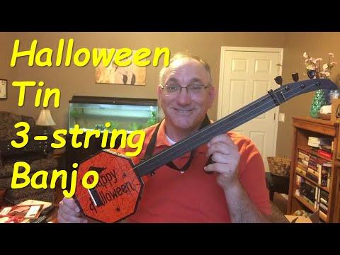 Halloween Cookie Tin 3 String Banjo (aka canjo)