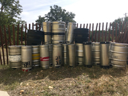 Stack o' empty kegs