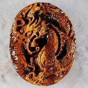 Tiger Eye Gem Oval Carved Dragon Pendant