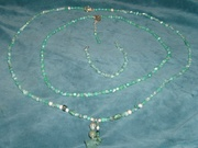 Apatite Chips and Apatite Colored Glass AB Beads.  3 Pice Set, 2 Necklaces and Bracelet.