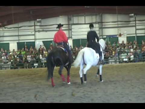 Ruth Hogan Poulsen and Dave Davis at Everything Equine 2010.  Classical Dressage Vs Cowboy Dressage