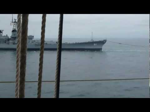 USS Iowa Filmed from the Mast of SV Irving Johnson