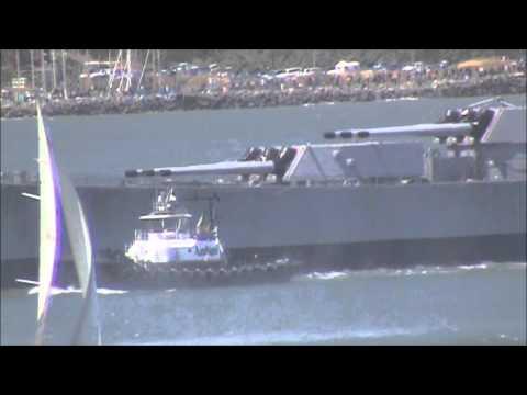 Farewell, USS Iowa - passing under the Golden Gate
