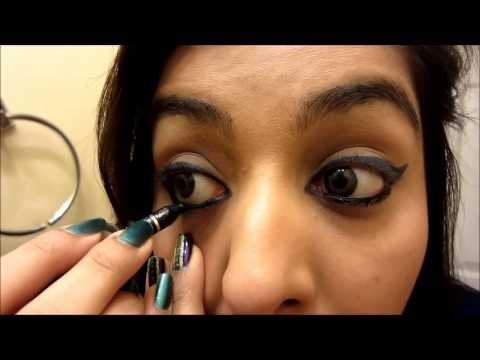 Rihanna Blue Cat Eyes & Bright Pink Lips Makeup Tutorial