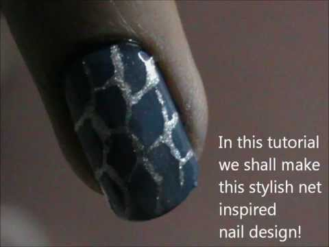 Net Design Nails- very easy nail design for short nails- nail design for beginners