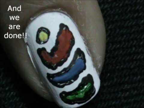 Multi coloured shells- Very Easy Nail Design for Beginners-Really easy nail design for Short Nails!