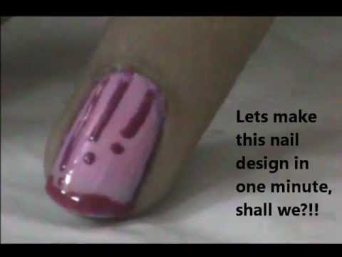 Think Pink!-One Minute Nail Design For Beginners- Easy Nail Design For Short Nails
