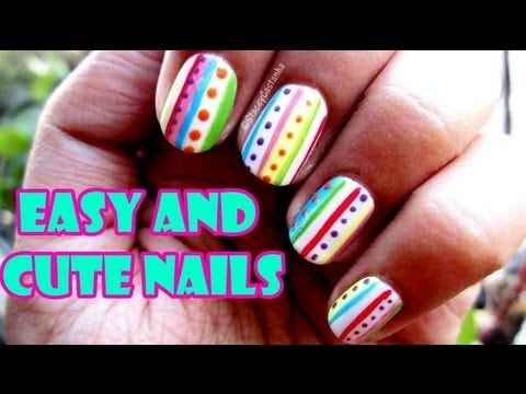 Easy and cute Stripes and dots   Nail art Tutorial