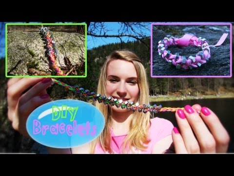 DIY String Bracelet & DIY Ribbon Bracelet. How to Make Bracelets Out of String or Ribbon with Beads