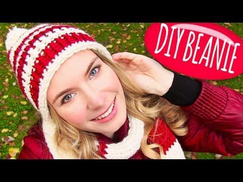 Knit a Hat! DIY Beanie Hat with Pom Pom + DIY Knitting Loom! Easy for Knitting or Crochet Beginners