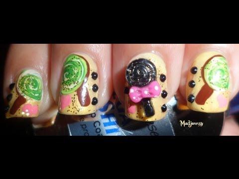 Sweet 3D Lollipops Nail Art / Diseño de chupetines