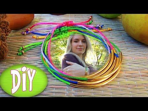 DIY Tube Bracelet! Bracelet Making Tutorial Out of String & Tube charm