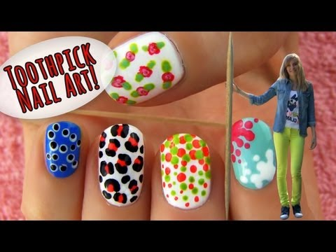 Toothpick Nail Art! 5 Nail Art Ideas & Designs Using Only a Toothpick!