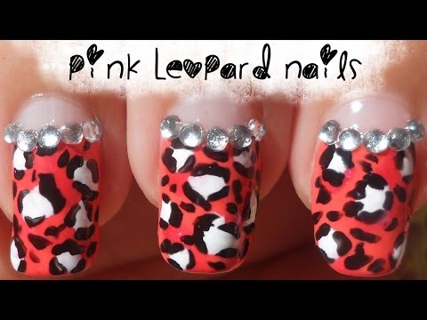 Pink Leopard Animal Print Nail Art with gems (non-dominant hand)