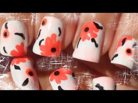 Easy Marimekko Inspired Floral Nail Art