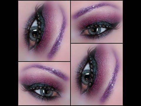 Reddish Purple Smokey Dragon - Makeup from Notoriously Morbid -  glitter brows