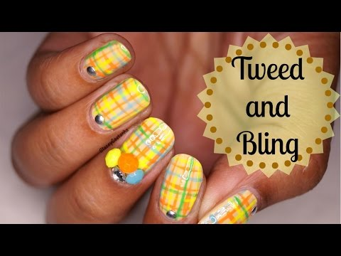 Nailart For fall | Tutorial | Tweed with Bling