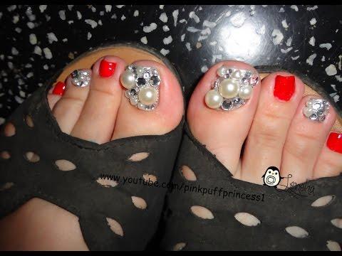 Red Japanese Toe Nail Art Tutorial