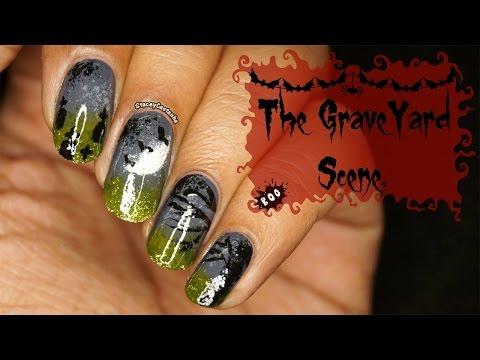 Halloween NAILART tutorial | The Graveyard Scene