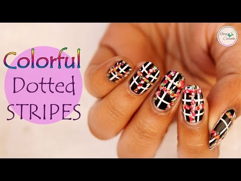 Colourful Dotted Stripes | Easy Nail Art Tutorial