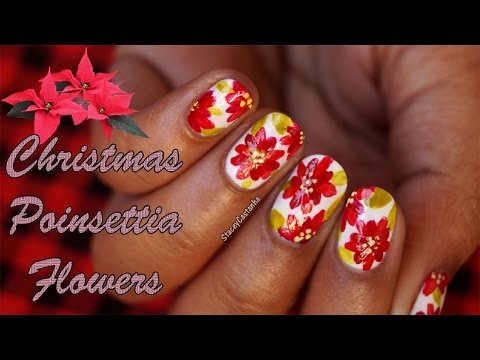 CHRISTMAS NAILART | Poinsettia flowers TUTORIAL | HANDPAINTED