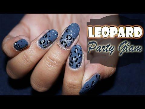 EASY NAILART Sparkly Leopard Print Nailart TUTORIAL (New Year Party)
