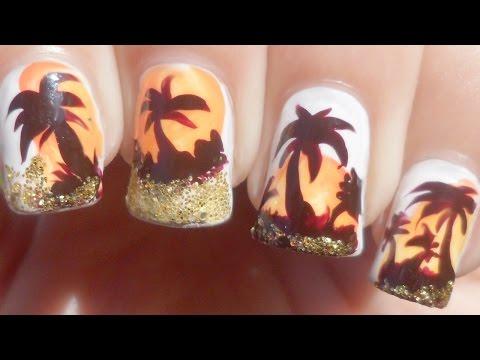 Glittery Palm Tree Nail Art