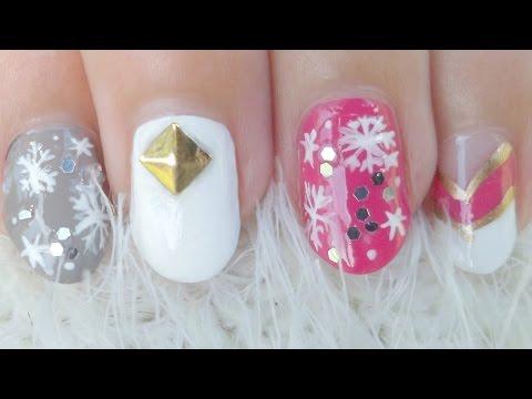 Crystal Snowflake Nail Art (Girly!)