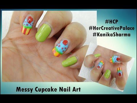 Messy Cupcake Nail Art: Video Tutorial   Kanika Sharma  