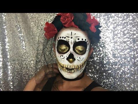 Golden Glitter Sugar Skull | Halloween Tutorial