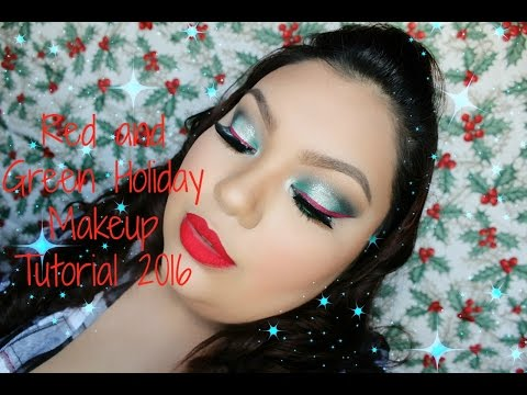 Red and Green Holiday Makeup Tutorial 2016