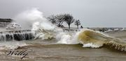 Ludington Michigan's boat launch parking lot pounded by surf