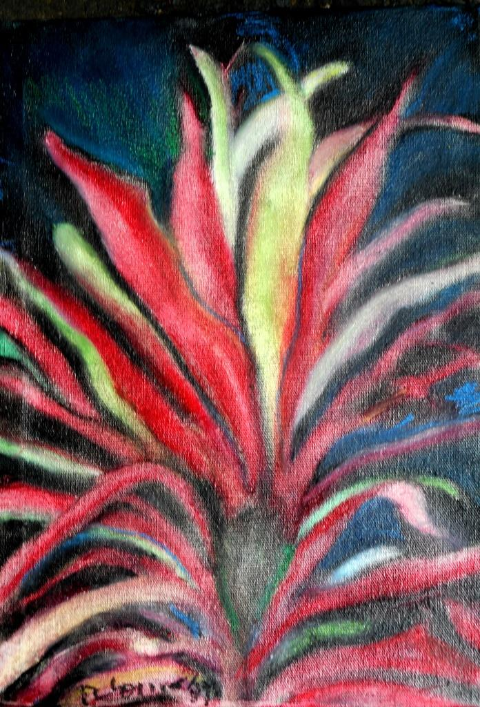 Chinese Herbal Plant 1 oil pastel on canvas RLO dic 2019  - copia