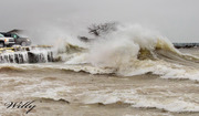 Ludington Michigan's inner Harbor smashed by 15 ft waves