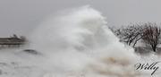 Ludington Michigan's inner harbor hit by large surf