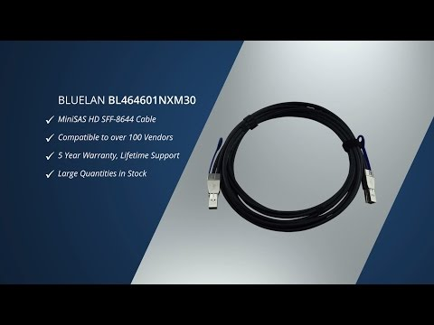 BlueLAN© BL464601NXM30 MiniSAS HD Cable SFF-8644 to SFF-8644 AWG 30
