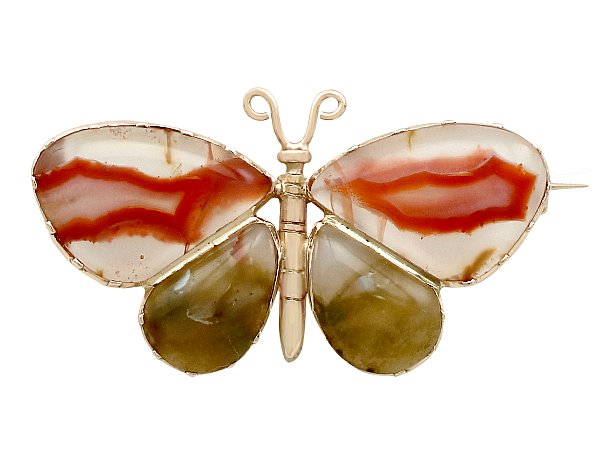 Agate and 9ct Yellow Gold 'Butterfly' Brooch - Antique Circa 1850
