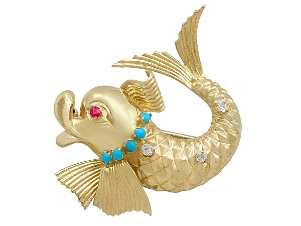Ruby and Turquoise, 0.21ct Diamond and 18ct Yellow Gold Dolphin Brooch by Ben Rosenfeld - Vintage 1965