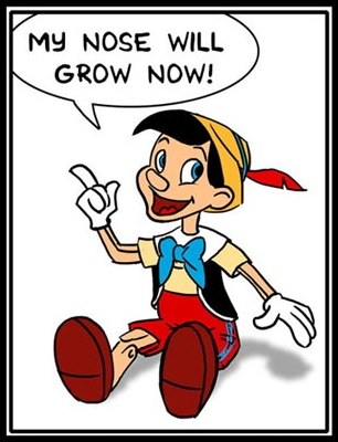 "Pinocchio saying ""My nose will grow now!"""