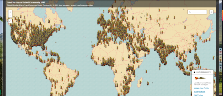 Global Support Map for Land Surveyors and RPLS today