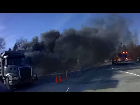 Engine 502 Working Dump Truck Fire