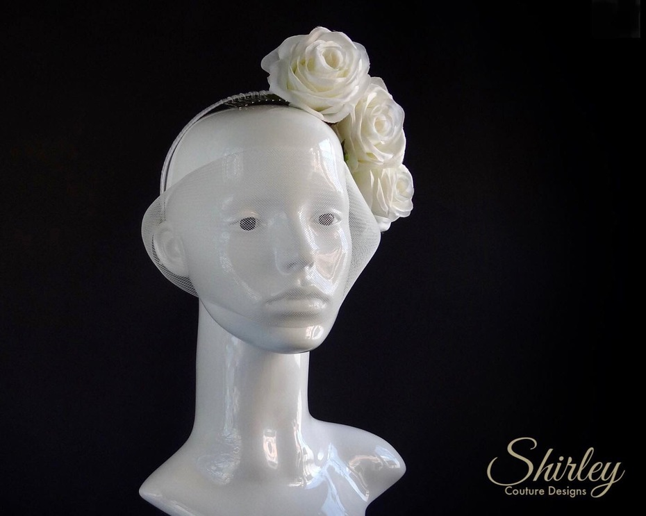 floral headpiece with veil