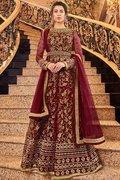 Maroon Net Anarkali Suits with Zari Embroidery