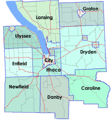 Tompkins county map.