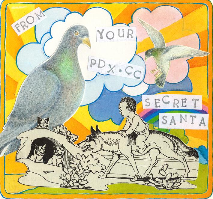 pdxcc theme - secret santa front (pigeons coyotes 1970s)