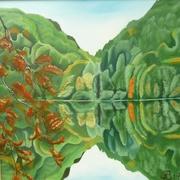 Am Hechtsee, 2014, Öl auf Leinwand, 100 x 100 cm